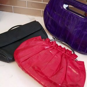 3 genuine eel skin clutch bags